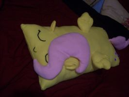 Fluttershy pillow, hand sewn by PollyRockets