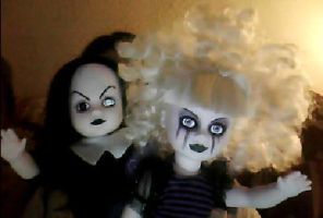 my living dead doll Pixie and Sadie by scarymovie13