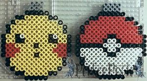 Pikachu and Pokeball Ornaments by PerlerPixie