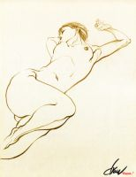 Nude croquis No.01_Recumbent woman by drawfluent