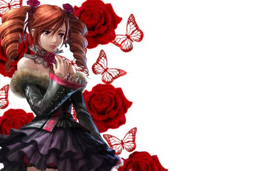 Amy Butterfly and Roses WP by MikiMichelleMAL