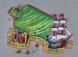 ship in a bottle tattoo design by Genocide-Al