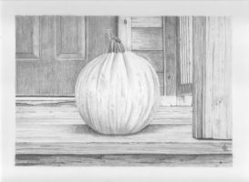 Pumpkin on a porch by SiriusArtWorks