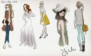 Lots o' fashion sketches by liliribs