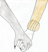 Coyote Child Holding Hung GIrl's Hand by TRIPLE84E