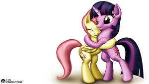 Twilight and Fluttershy Hugging by TsaritsaLuna