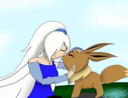 Commission: Silverheart and Evee by ToniMizukiPrime