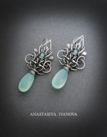earrings with chalcedony by nastya-iv83