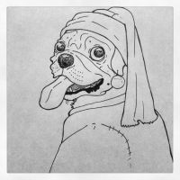 Pug with a Pearl Earring by comrade-carpet