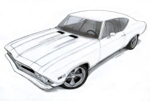 1968 Chevrolet Chevelle SS Pro Touring Drawing by Vertualissimo