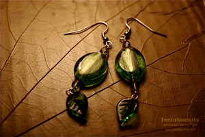 Earrings with Green Beads by Folksaga