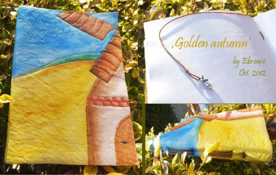 Golden Autumn Leather Notebook by Elescave