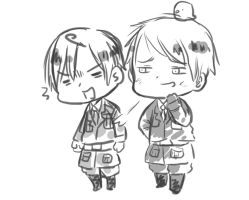 Chibi Prussia and Romano [Request] by White-Bears