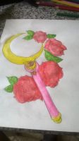 Cresent Moon wand watercolors by PrincessSailorComet