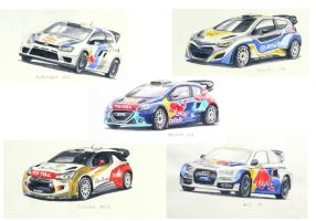 watercolour rally cars! by CaptainJoellie