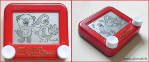 Snivy and Oshawott etch a sketch by pikajane
