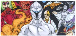 Silverhawks 3 sketch card puzzle by mdavidct