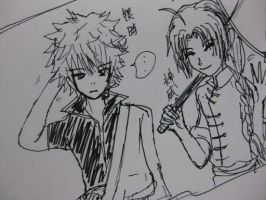 Sketch - Gintoki and Kamui by rrs