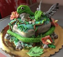 2 headed snake cake (la serpe alata) by rosecake