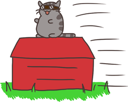 Pusheen Flies The Red Baron by andyofcomixinc