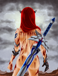 The warrior of scarlet hair by Usunk