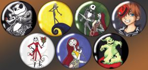 Nightmare Before Christmas Buttons by Rider4Z
