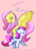 Fluttershy And Baby MoonDancer by Liyuku