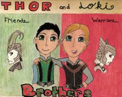 Little Thor and Loki by AbbyCatWolff
