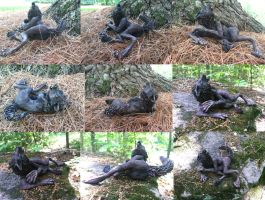 Howling Werewolf Laying Down Sculpture SOLD by starwolf303