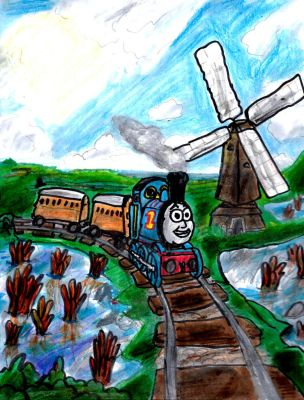 Thomas the Tank Engine Rolling Along by SonicClone