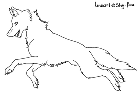 jumping wolf lineart by shy-fox