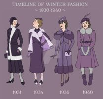 DETAIL: Winter Fashion Timeline 1930-1940 by a-little-bit-lexical