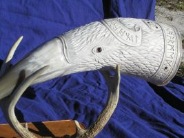 Very large Raven horn and antler stand pic4 by Bonecarverpm