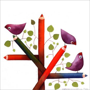 ''ColoredPencil Tree'' by arghavan