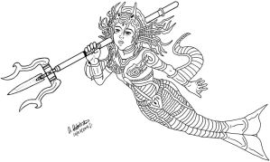 Battle Mermaid (Inking) by archaznable30