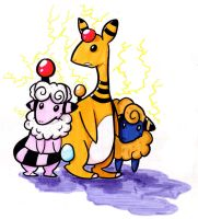 Ampharos, Flaaffy, and Mareep by Corny63