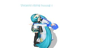 Vocaloid hug by KaitoShionIcecream