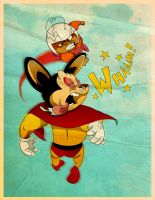 Mighty mouse VS. Atom Ant by pinkblot6