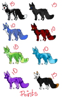 Fox Adoptables 1 (open 5 lefts) by Asenath-Nightroad