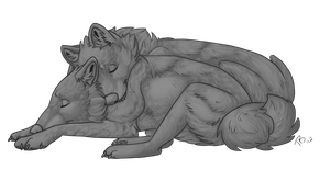 FREE Wolf Cuddle Template by Atani1