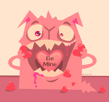 The Love Monster - Be Mine - Cartoon Illustration by VioletSuccubus