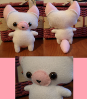 White-Pink Foxy Plush by Mandoop