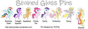 Metal Pony Pins - Stained Glass by Kanamai