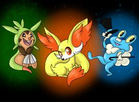 Pokemon Gen 6 starters by FinalChara