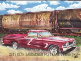 1967 El Camino In Railyard by FastLaneIllustration