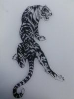 Tiger tatto (Black and White detail) by LeonaWao