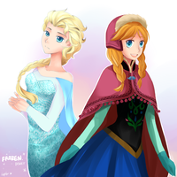Anna and Elsa by lepler