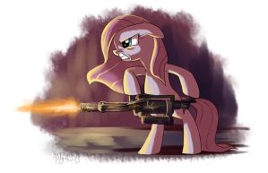Pinkamena and her minigun by Adlynh