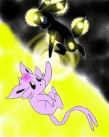 Umbreon and Espeon by Eeveelutionluver12