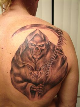 REAPER REALISTIC   BLACK ANG GREY by Mariotattoos